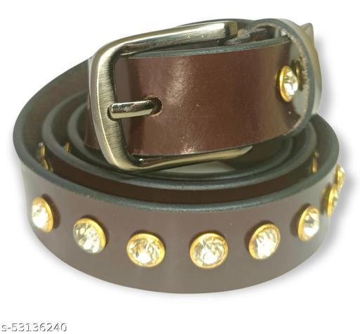 Brown color men's solid dimand party wear leather belt