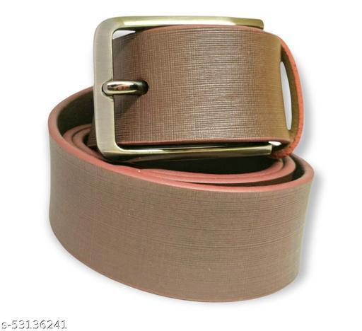 Brown color men's solid party wear leather belt