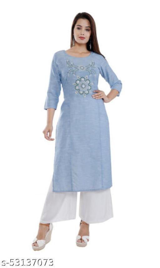 Embroidered Cotton Kurti (Sky Blue)