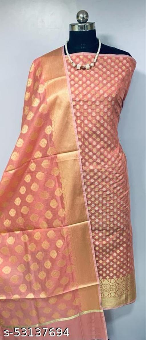 (K1Peach) TRenDy Banarsi Cotton Suit And Dress Material