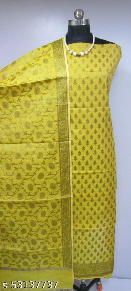(K4Yellow) Fabulous Banarsi Cotton Suit And Dress Material