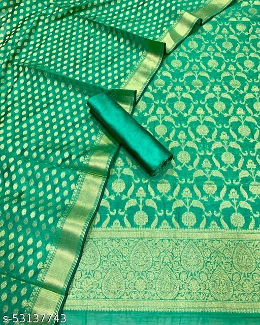 (K5Mint Green) Fabulous Banarsi Jaquard Chanderi Cotton Suit And Dress Material