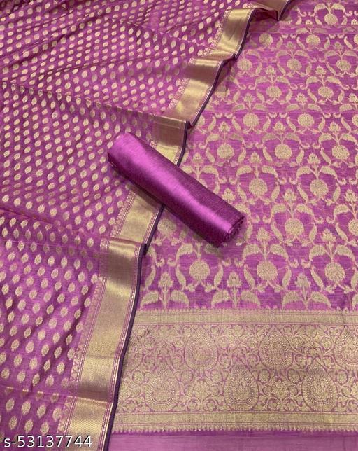 (K5Pink) Fabulous Banarsi Jaquard Chanderi Cotton Suit And Dress Material