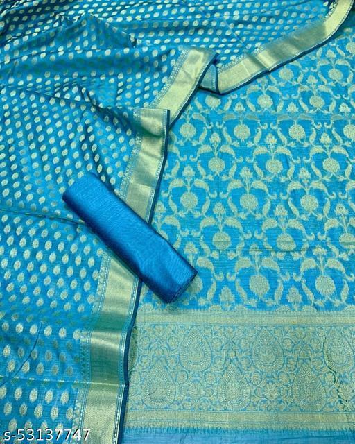 (K5Aqua Blue) Fabulous Banarsi Jaquard Chanderi Cotton Suit And Dress Material