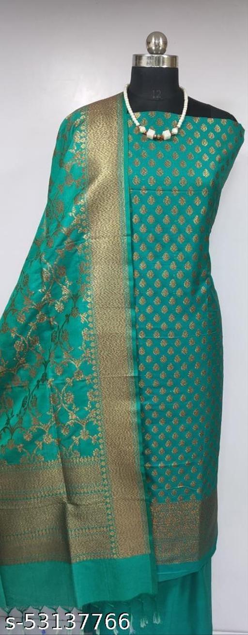 (K6Green) Fabulous Banarsi Pure Silk Suit And Dress Material
