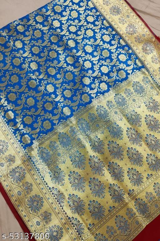 (K4Aqua Blue) TrenDy Fabulous Banarsi Handloom Silk Saree