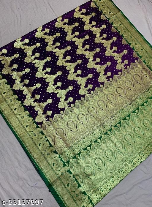 (K5purple) Fabulous Banarsi Handloom Silk Saree