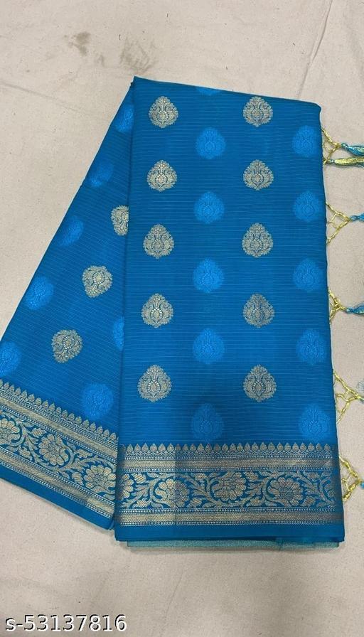 (K11Aqua Blue) Fabulous Banarsi Handloom Cotton Silk Saree For Specially Weddings
