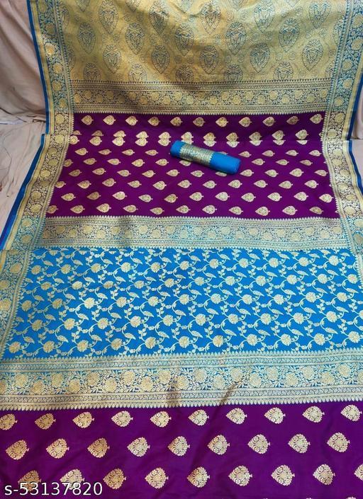 (K12Purple) Fabulous TrenDy Banarsi Partly Silk Saree for Specially Weddings