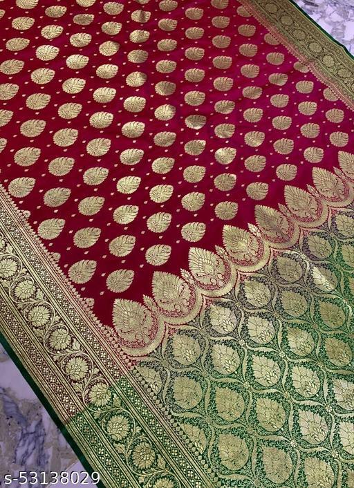 (K18Pink) Fabulous TrenDy Banarsi Silk Saree for Specially Weddings