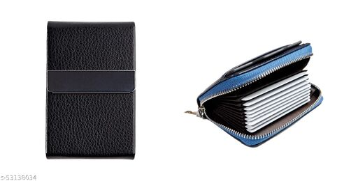 F17 PU/Faux Leather Pocket Sized Business/Credit/Debit/ATM  Card Holder Money Wallet Office Purpose Zipper Coin Purse for Men & Women Combo Pack of 2