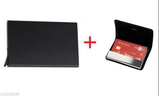 F17 Metal Credit Card Holder Wallet for Men Women Pack of 2