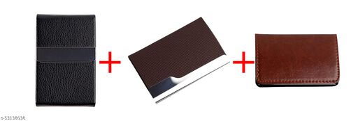 F17 Men and Women Slim Leather Wallet Card Case/Card Holder Combo Pack of 3