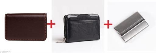 F17 6 Slots Metal Credit Card Holder Wallet for Men Combo Pack of 3