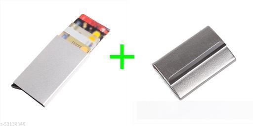 F17 6 Slots Metal Credit Card Holder Wallet for Men Combo Pack of 2