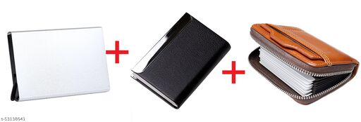 F17 RFID Blocking Money Clip Leather Wallet for Men - Minimal Leather Wallet for Men Pack of 3