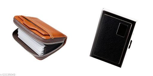 F17 Men and Women Slim Leather Wallet Card Case/Card Holder Combo Pack of 2