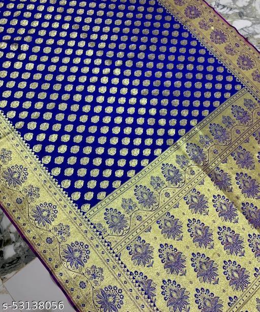 (K20Blue) Fabulous Banarsi Silk Saree for Specially Weddings