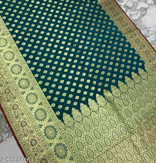 (K21Teal) Fashionable TrenDy Banarsi Silk Saree