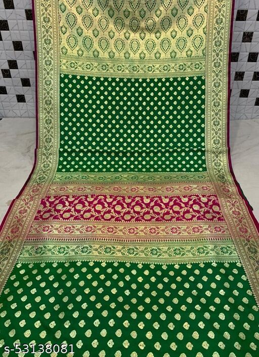(K23Green) Fashionable Banarsi Contrass Border Silk Saree For Specially Weddings