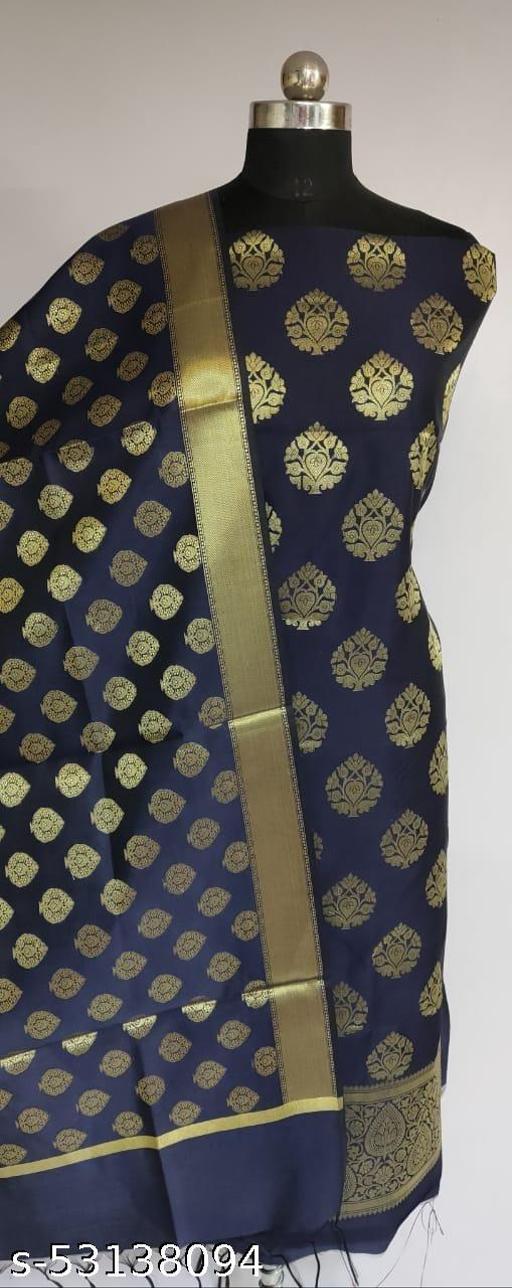(K1Navy Blue) Fabulous Banarsi Silk Suit And Dress Material