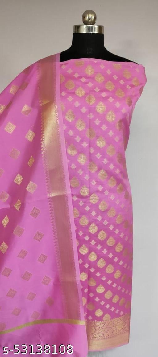 (K2Pink) TrenDy Banarsi Silk Suit And Dress Material