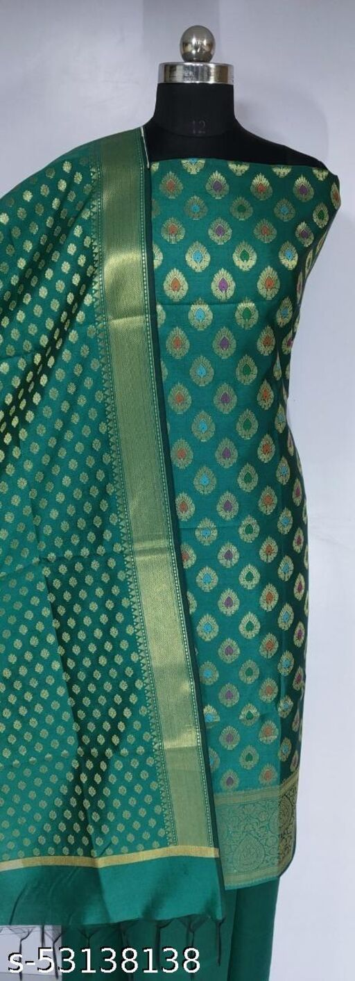 (K4Teal) Fabulous Banarsi Multi Mina Silk Suit And Dress Material