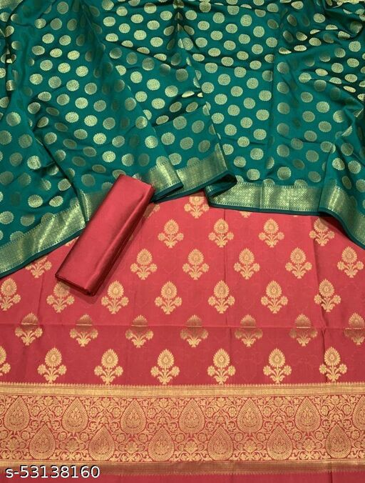 (K5Peach) Fabulous Banarsi Contrass Matching Silk Suit And Dress Material