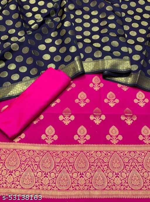 (K5Pink) Fabulous Banarsi Contrass Matching Silk Suit And Dress Material