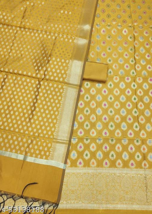 (K7Mustard) Fabulous Banarsi Multi Mina Silk Suit And Dress Material