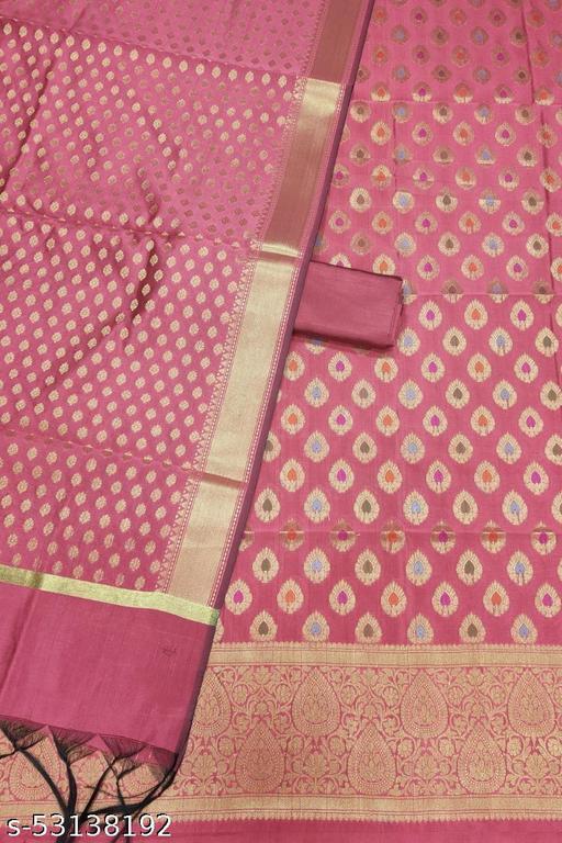 (K7Peach) Fabulous Banarsi Multi Mina Silk Suit And Dress Material