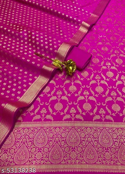 (K10Pink) Weddings Special Banarsi Silk Suit And Dress Material