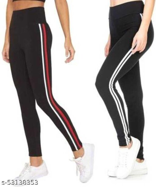 MHR FASHION RED AND WHITE STRIP JEGGING