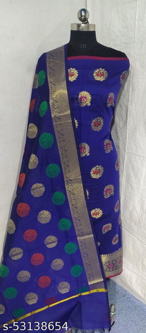 (S1Blue) Weddings Special Banarsi Handloom Cotton Suit And Dress Material
