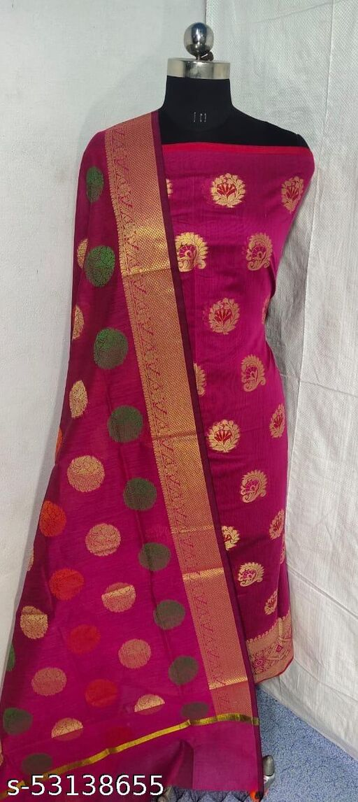 (S1Pink) Weddings Special Banarsi Handloom Cotton Suit And Dress Material