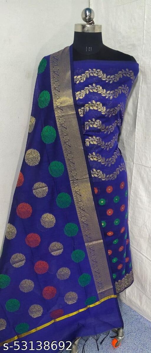 (S3Blue) Weddings Special Banarsi Handloom Cotton Suit And Dress Material