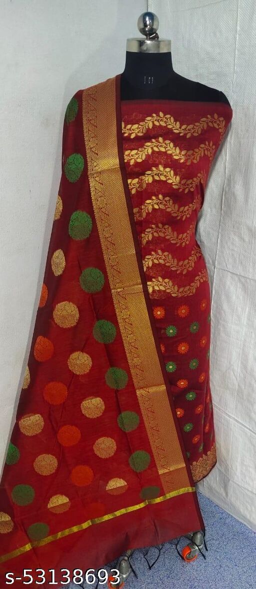 (S3Red) Weddings Special Banarsi Handloom Cotton Suit And Dress Material