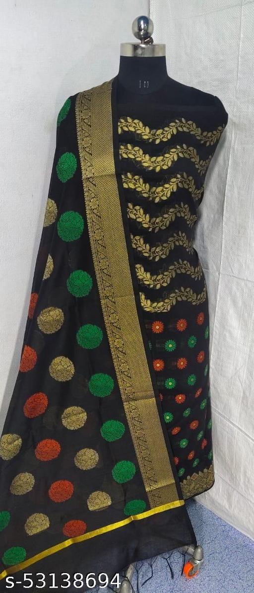 (S3Black) Weddings Special Banarsi Handloom Cotton Suit And Dress Material