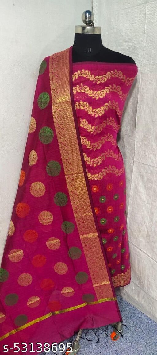 (S3Pink) Weddings Special Banarsi Handloom Cotton Suit And Dress Material