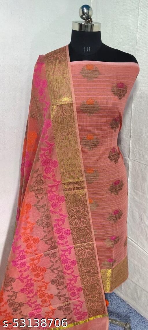 (S4Peach) Weddings Special Banarsi Handloom Cotton Suit And Dress Material