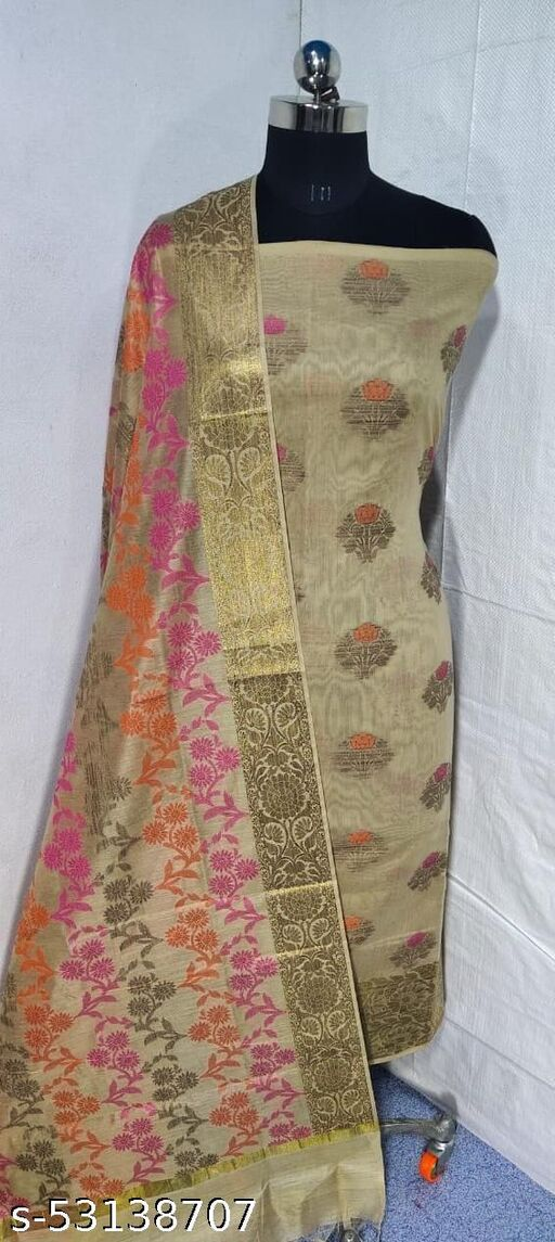 (S4Nude) Weddings Special Banarsi Handloom Cotton Suit And Dress Material