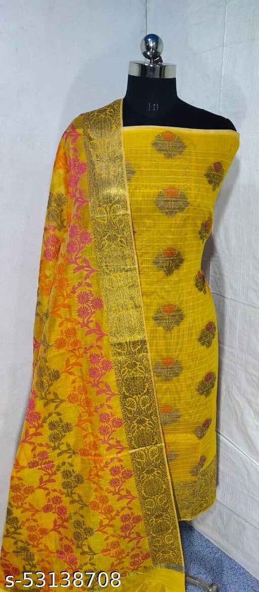 (S4Yellow) Weddings Special Banarsi Handloom Cotton Suit And Dress Material