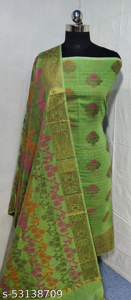 (S4Mint Green) Weddings Special Banarsi Handloom Cotton Suit And Dress Material