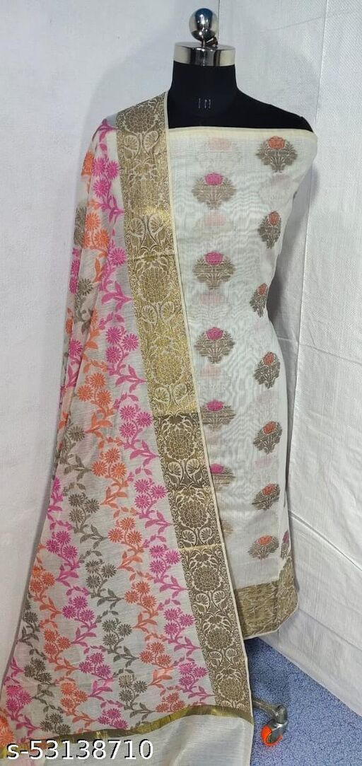 (S4White) Weddings Special Banarsi Handloom Cotton Suit And Dress Material