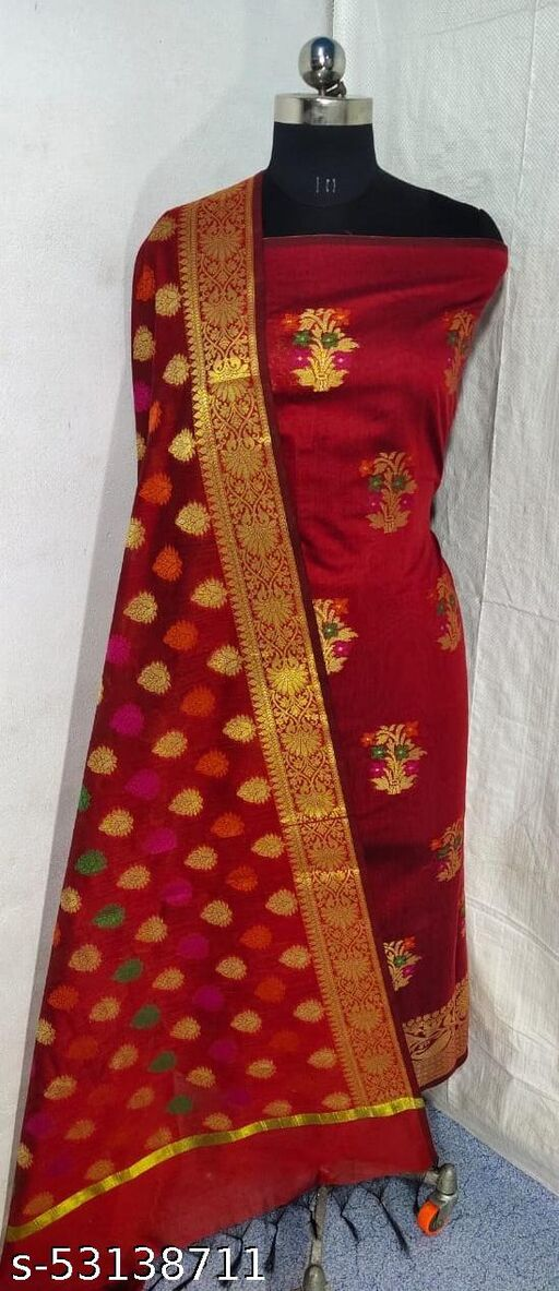 (S5Red) Weddings Special Banarsi Handloom Cotton Suit And Dress Material