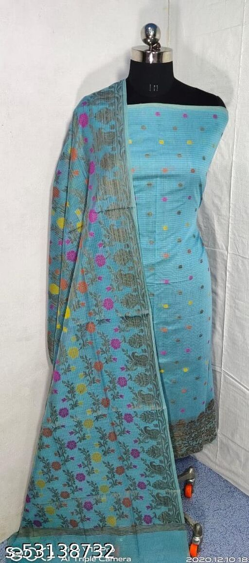 (S7Blue) Weddings Special Banarsi Handloom Cotton Suit And Dress Material