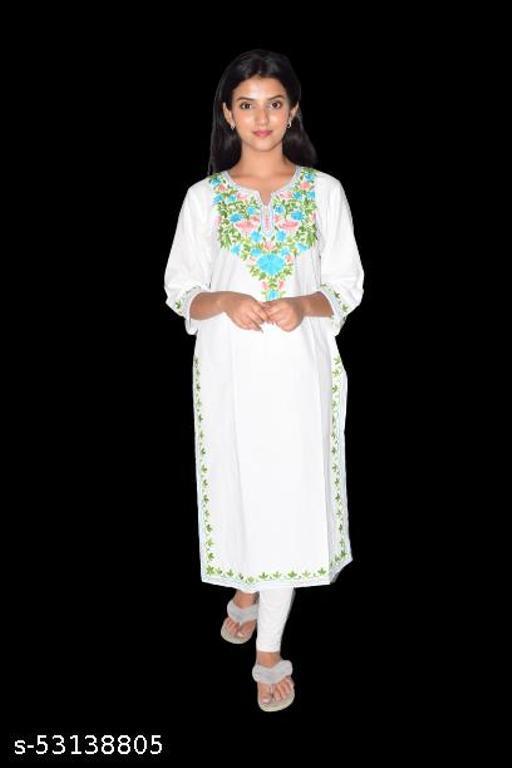 BellaCouture Women Cotton Embroidered Knee Length Kurta(White/Multi)