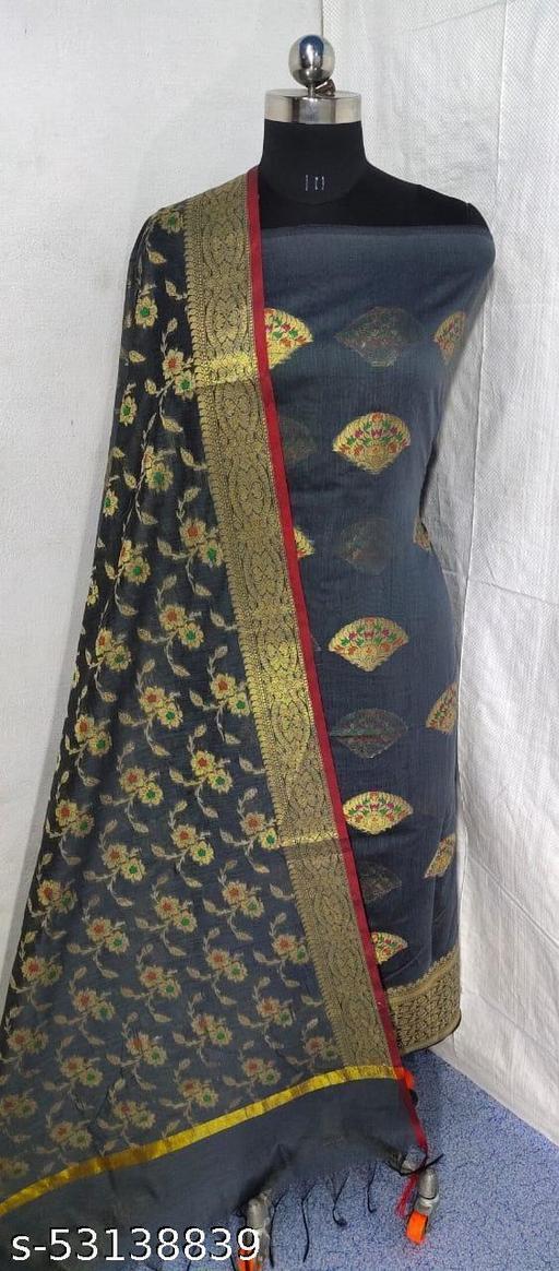 (S16Grey) Weddings Special Banarsi Handloom Cotton Suit And Dress Material