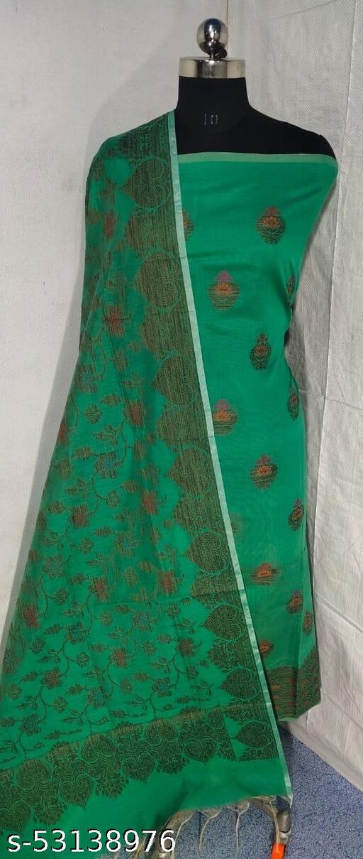 (S17Mint Green) Weddings Special Banarsi Handloom Cotton Suit And Dress Material