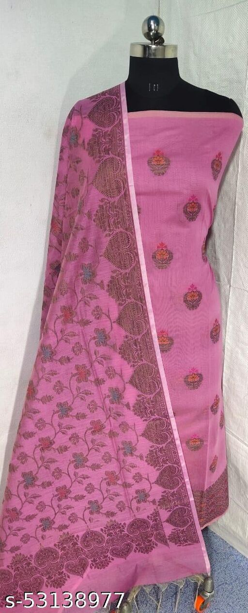 (S17Pink) Weddings Special Banarsi Handloom Cotton Suit And Dress Material